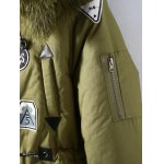 Plus Size Patched Fur Hooded Parka Coat for sale