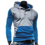 cheap Fashion Hooded Two Color Splicing Button Design Slimming Long Sleeve Cotton Blend Hoodie For Men