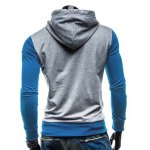 Fashion Hooded Two Color Splicing Button Design Slimming Long Sleeve Cotton Blend Hoodie For Men for sale