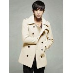 cheap Double Breasted Epaulet Design Wool Blend Coat
