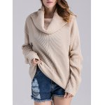 cheap Loose Fit Ribbed Cowl Sweater