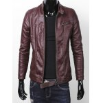 cheap Stand Collar Zipper Pocket Faux Leather Jacket