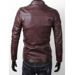 Stand Collar Zipper Pocket Faux Leather Jacket deal