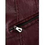 Stand Collar Zipper Pocket Faux Leather Jacket photo