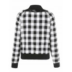 Button Up Plaid Bomber Jacket photo