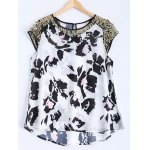 Mesh Sequined High Low Printed Top