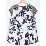 cheap Mesh Sequined High Low Printed Top