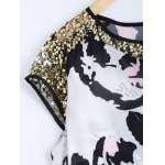 Mesh Sequined High Low Printed Top deal