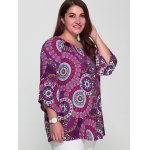 cheap Plus Size Colorful Print Spliced Sleeve Blouse