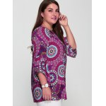 Plus Size Colorful Print Spliced Sleeve Blouse deal