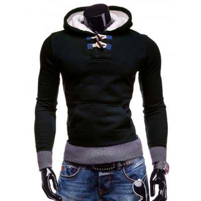 Stylish Hooded Horn Button Patched Splicing Slimming Long Sleeve Polyester Hoodie For Men