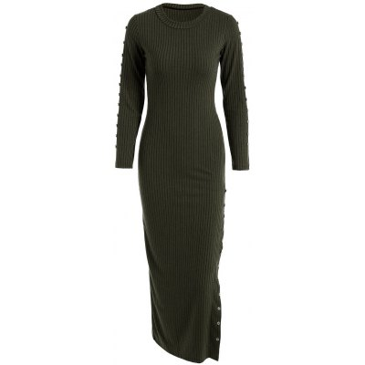 Beaded Fitted Long Sleeve Maxi Jumper Dress