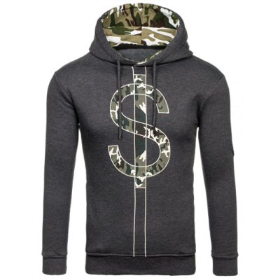 Camouflage Splicing Dollar Symbol Print Hoodie