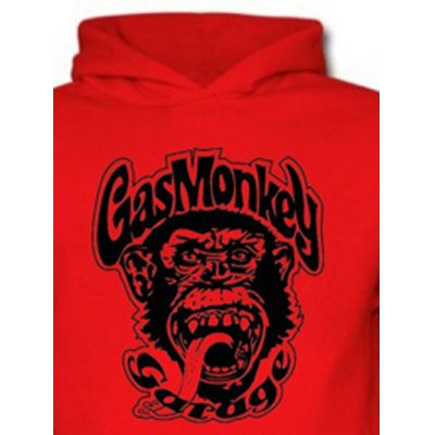 Orangutan and Graphic Print Black Red Hoodie