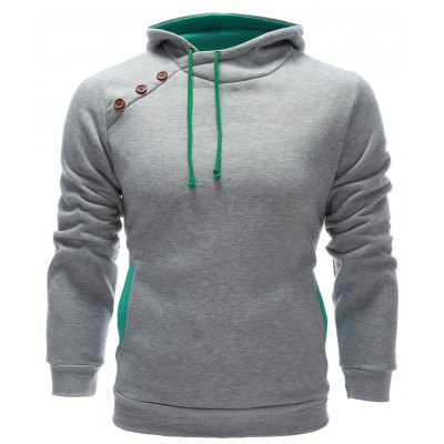 Inclined Single Breasted Patchwork Hoodie