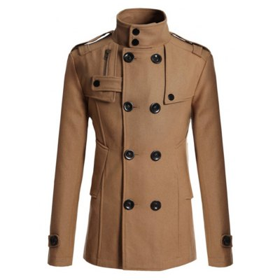 Stand Collar Epaulet Design Spliced Wool Mix Coat