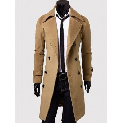 Wide Lapel Double Breasted Wool Mix Overcoat