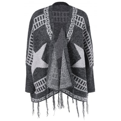 Star Fringed Loose Cardigan