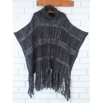Asymmetric Fringed Knit Cape Sweater