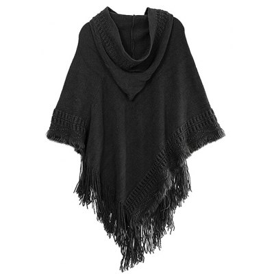 Hooded Fringed Asymmetric Pullover Knit Cape Sweater
