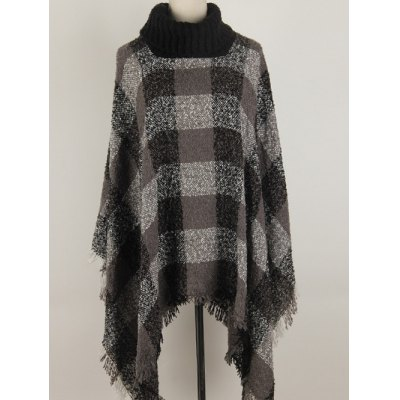Turtleneck Fringed Asymmetric Pullover Cape Sweater
