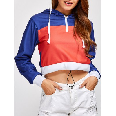 Color Block Cropped Pullover Short Hoodie