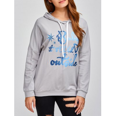 Letter Print Pullover Hoodie