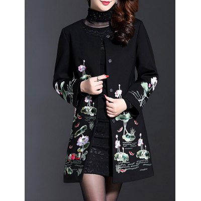 Lotus Embroidered Trench Coat