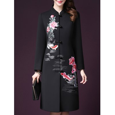 Long Floral Embroidered Coat