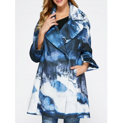 Chinese Painting Woolen Blend Coat