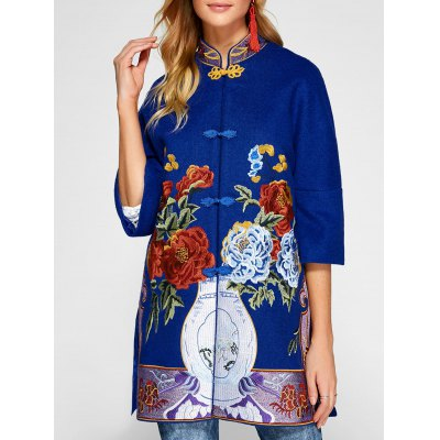 Chinese Style Embroidery Woolen Blend Coat