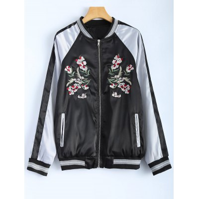 Color Block Flower Embroidery Fall Bomber Jacket