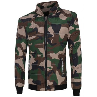 Stand Collar Zip Up Camouflage Padded Jacket