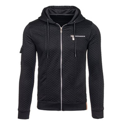 Zip Pocket Drawstring Quilted Hoodie