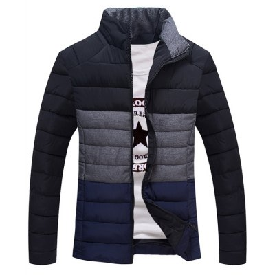 Contrast Insert Zip Up Padded Jacket