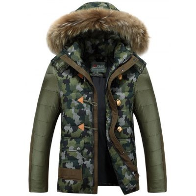 Camo Faux Fur Hooded Padded Jacket