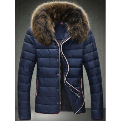 Contrast Trim Zip Up Faux Fur Collar Padded Jacket