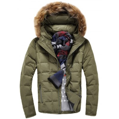 Faux Fur Knitted Hood Zippered Quilted Jacket