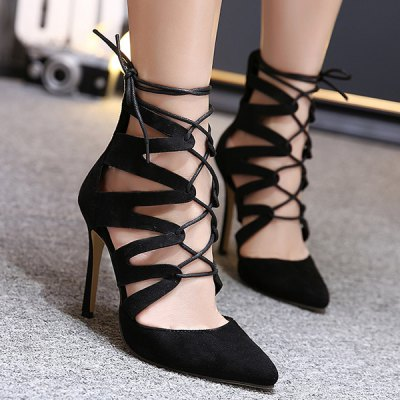 Pointed Toe Lace Up Stiletto Heel Pumps