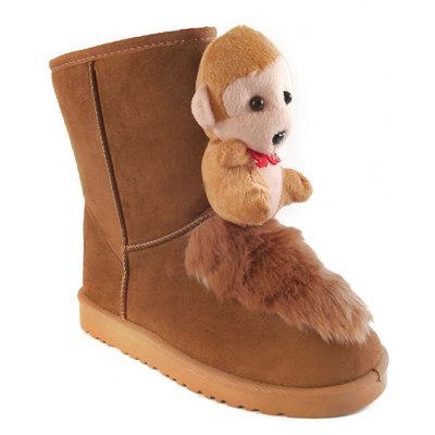 Mid Calf Cartoon Monkey Snow Boots