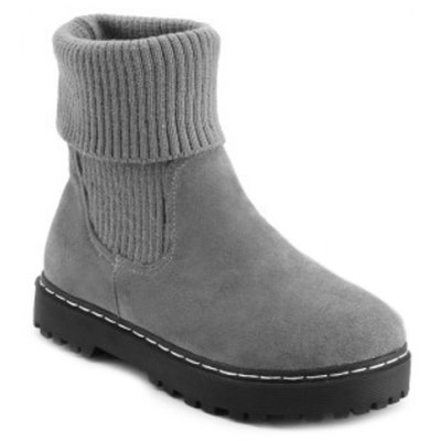 Cable Knit Suede Slip On Ankle Boots