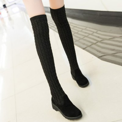Splicing Wedge Dark Colour Thigh Boots