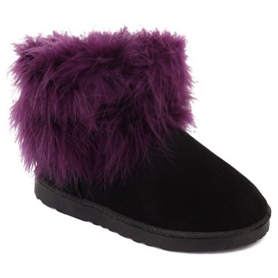 Ankle Flocking Snow Boots