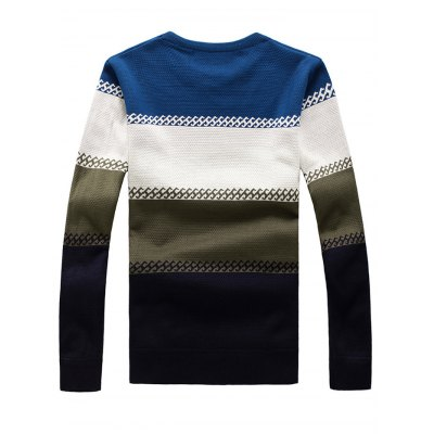 Crew Neck Color Stripe Flocking Texture Sweater от GearBest.com INT