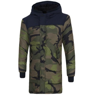 Zip Up Spliced Hooded Padded Camo Coat