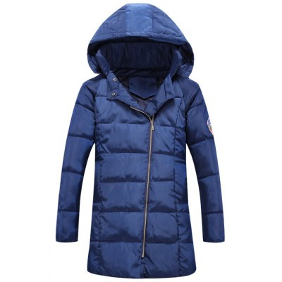 Patch Design Hooded Zip Up Padded Coat