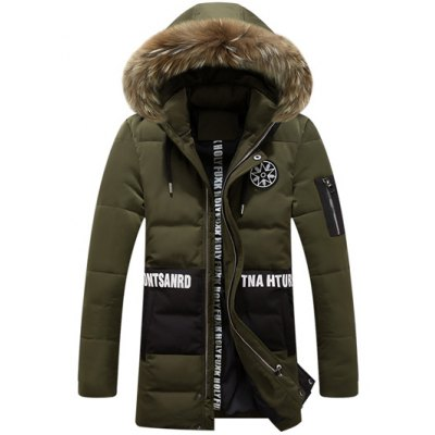 Printed Faux Fur Hooded Paneled Padded Coat