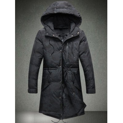 Drawstring Hooded Padded Coat
