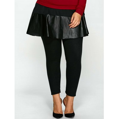 Plus Size Bodycon PU Skirted Pants
