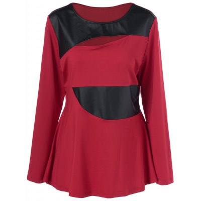 Plus Size Faux Leather Patchwork Peplum Pullover